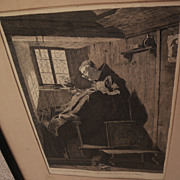 German art highly detailed signed 1879 ink and wash drawing of priest in an interior