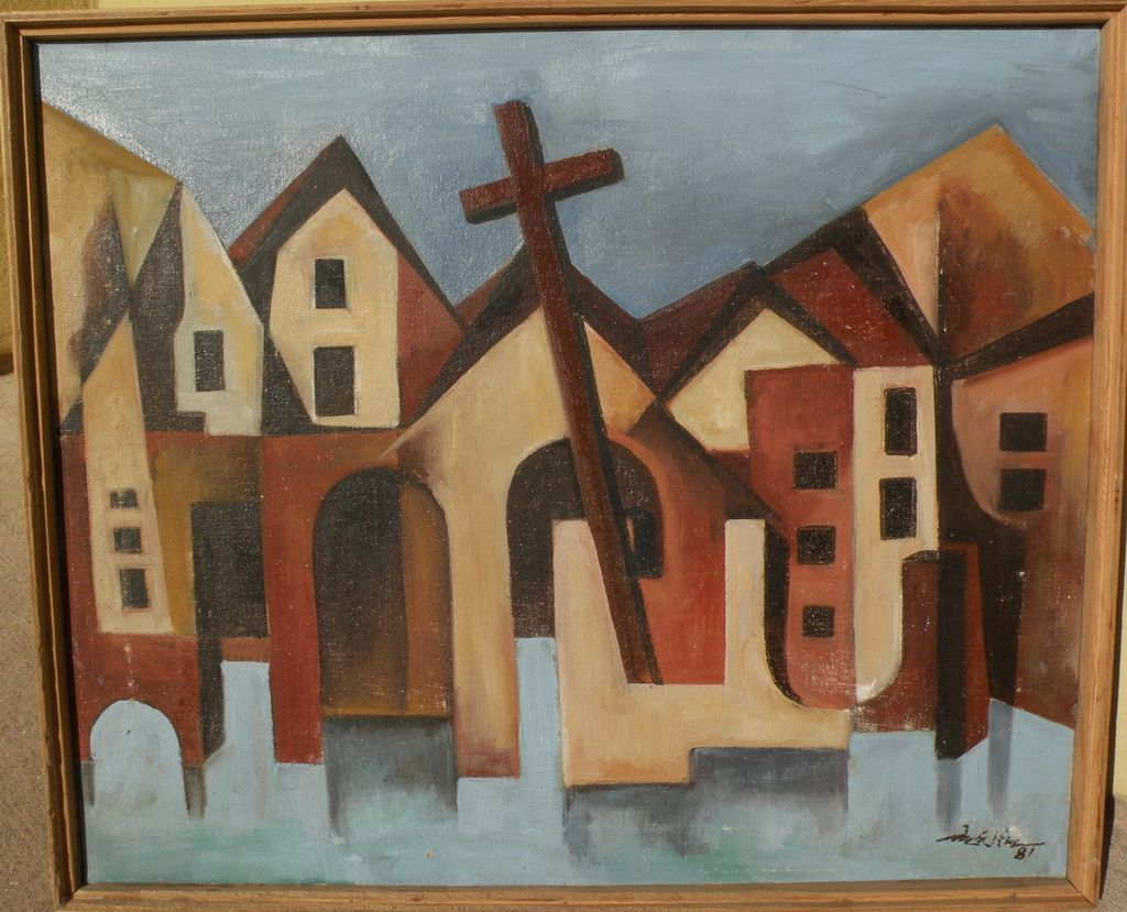 Southwestern American art 1981 modernist painting of buildings and Christian cross