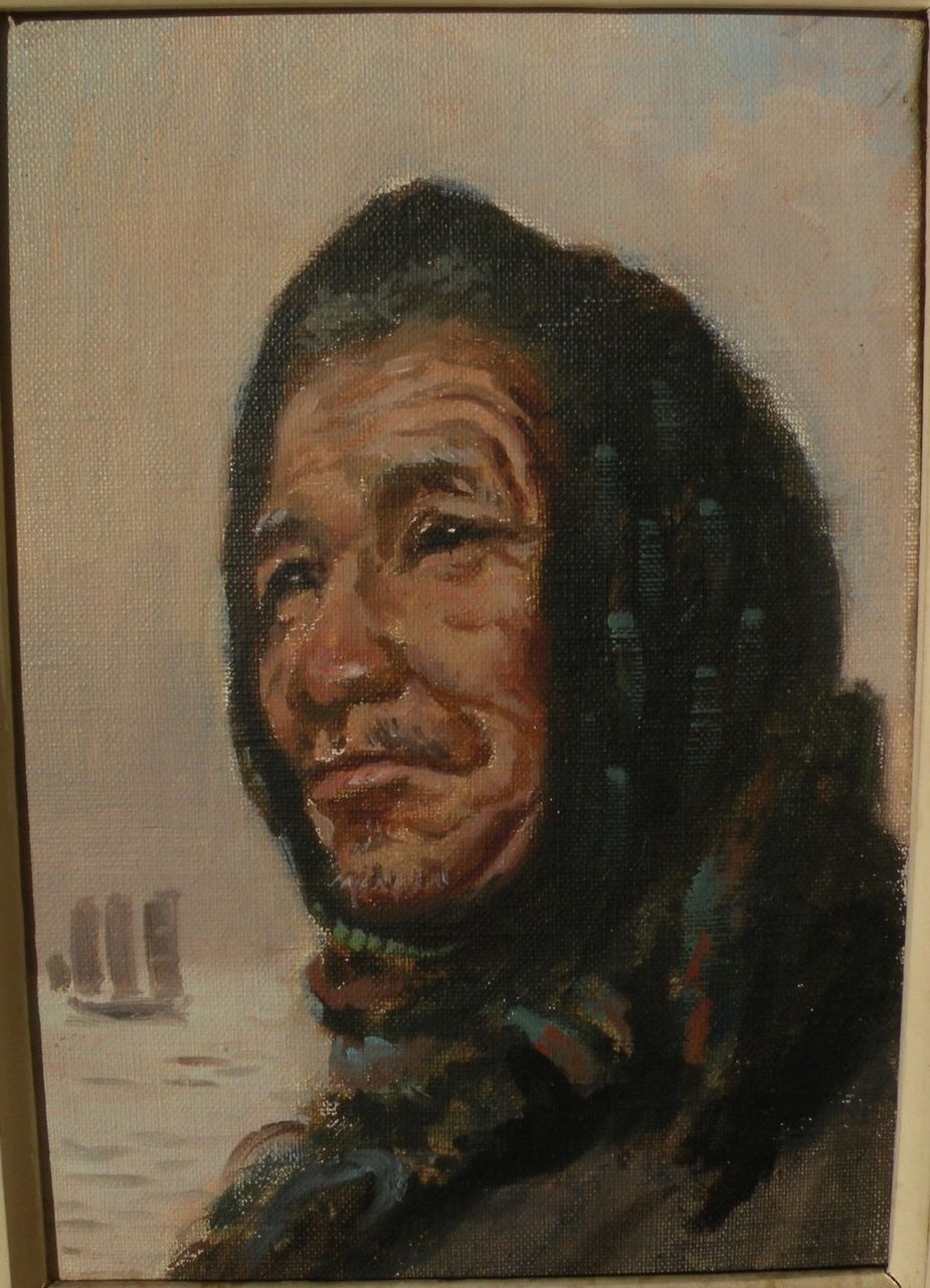 Impressionist painting of a Native American man possibly Alaskan