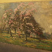 Impressionist painting of farmhouse in spring landscape signed Louis Soonius