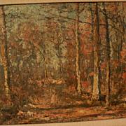 JOSEPH CARON (1866-1944) Belgian art impressionist painting of forest in autumn