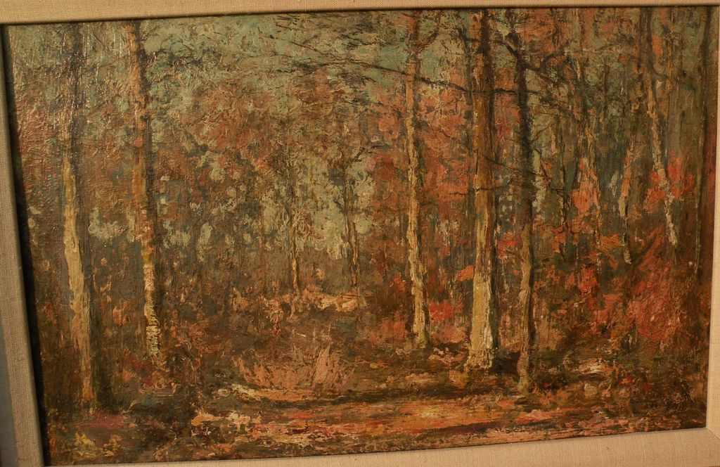 JOSEPH CARON (1866-1944) Belgian art impressionist painting of forest in autumn