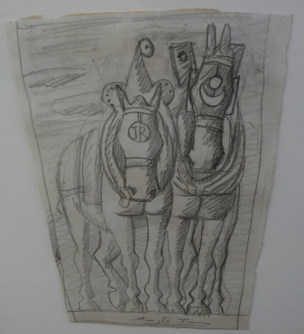 AUGUSTO TORRES GARCIA (1913-1992) Uruguayan art signed pencil drawing of horses by noted artist son of Joaquin Torres Garcia