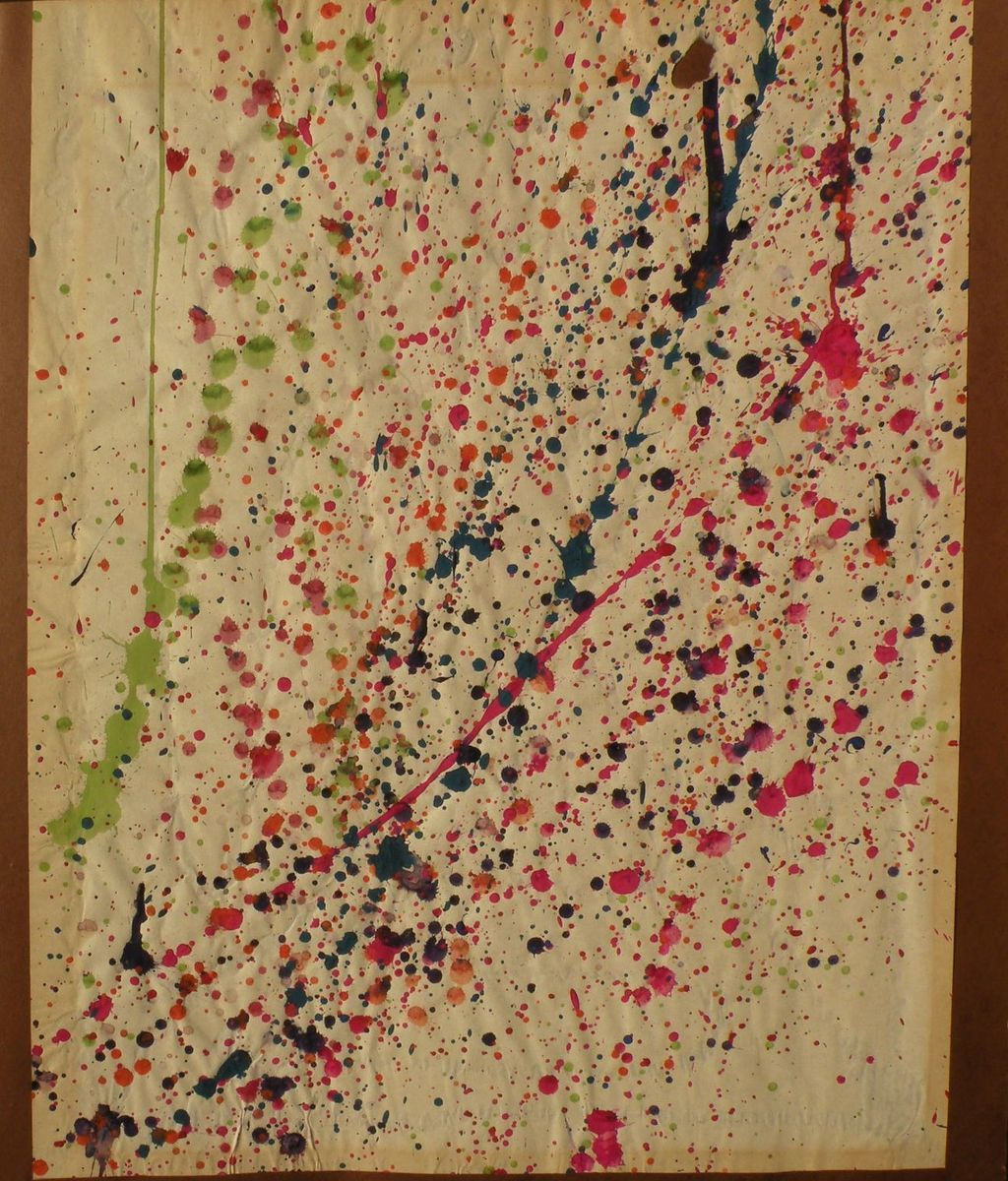 Mid century abstract American art circa 1960's drip painting on paper