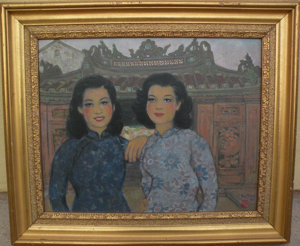NGUYEN VAN TRUNG (1937-) Vietnamese art painting of young women