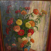 Signed circa 1950 American impressionist still life oil painting