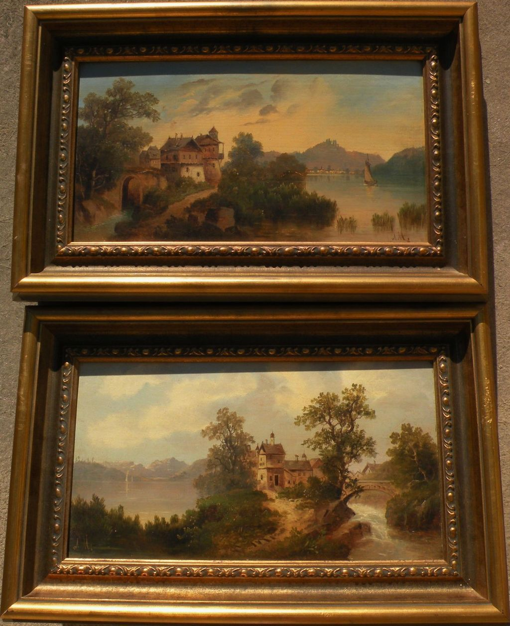 German 19th century art PAIR signed landscape paintings on beveled wood panels