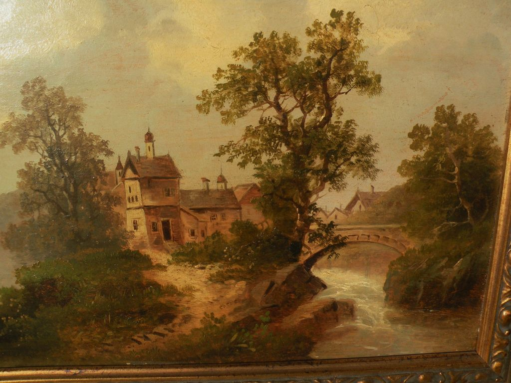 German 19th century art PAIR signed landscape paintings on