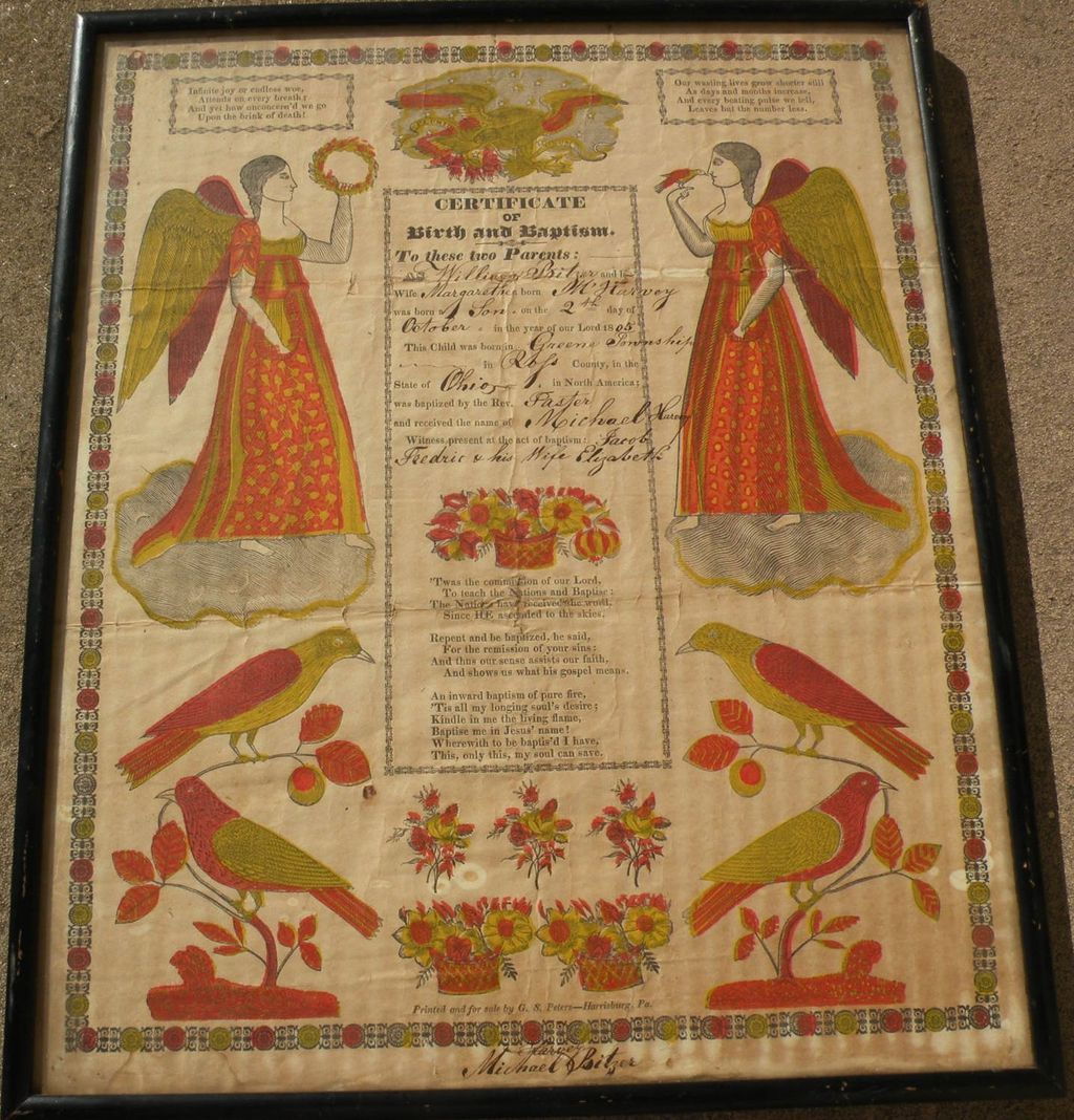 American folk art early 19th century pennsylvania dutch fraktur american folk art early 19th century pennsylvania dutch fraktur style birth certificate aiddatafo Image collections