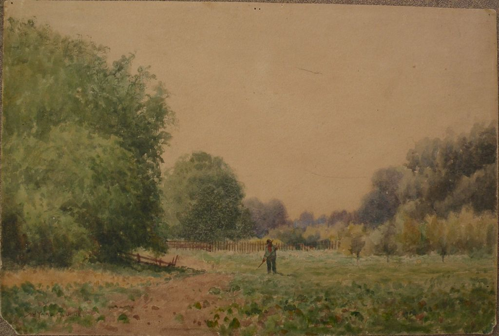"SYDNEY J. YARD (1855-1909) early California art plein air watercolor landscape painting ""Working in the Field"""
