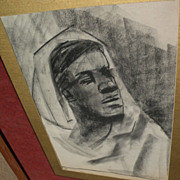 American art signed charcoal drawing of a figure