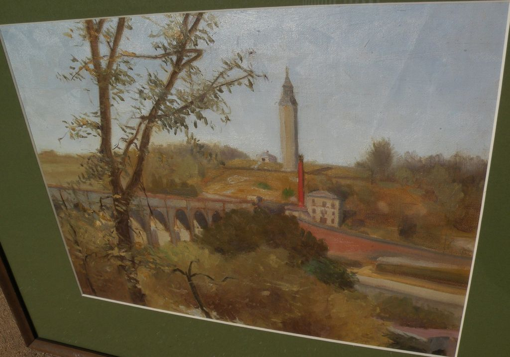 Impressionist 1917 landscape painting of Highbridge connecting Manhattan and Bronx New York