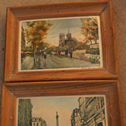 CHARLES BLONDIN (1913-) Paris impressionist street scenes **PAIR** pencil signed limited edition color prints