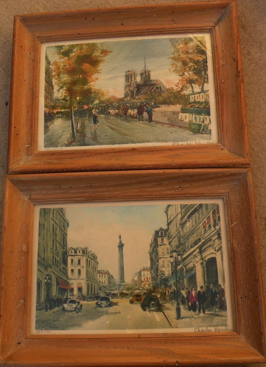 CHARLES BLONDIN (1913-1991) Paris impressionist street scenes **PAIR** pencil signed limited edition color prints