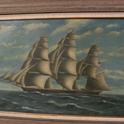 T. BAILEY large American marine painting clipper on the high seas