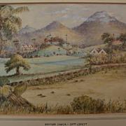 "Topographical art original 19th century landscape watercolor ""British India"""