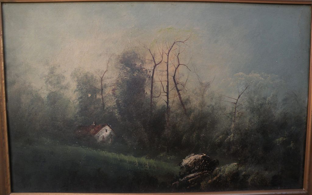 Old American landscape painting on board circa 1920