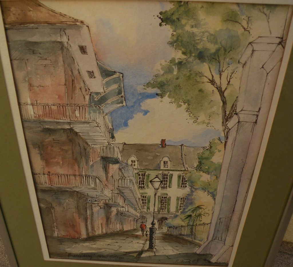 "New Orleans Louisiana watercolor painting ""Pirate's Alley"" by Jackson Square artist PEGGY NEAD"