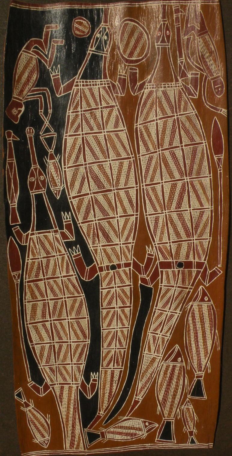 Australian aboriginal art eucalyptus bark painting by GEORGE ANARAGAYURA (1934-)