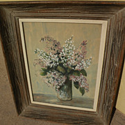 Watercolor and gouache painting of lilacs in a vase