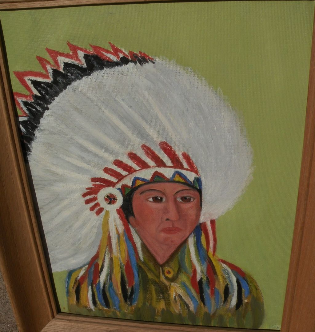 American Indian kitsch circa 1960 amateur painting of a chief with headdress