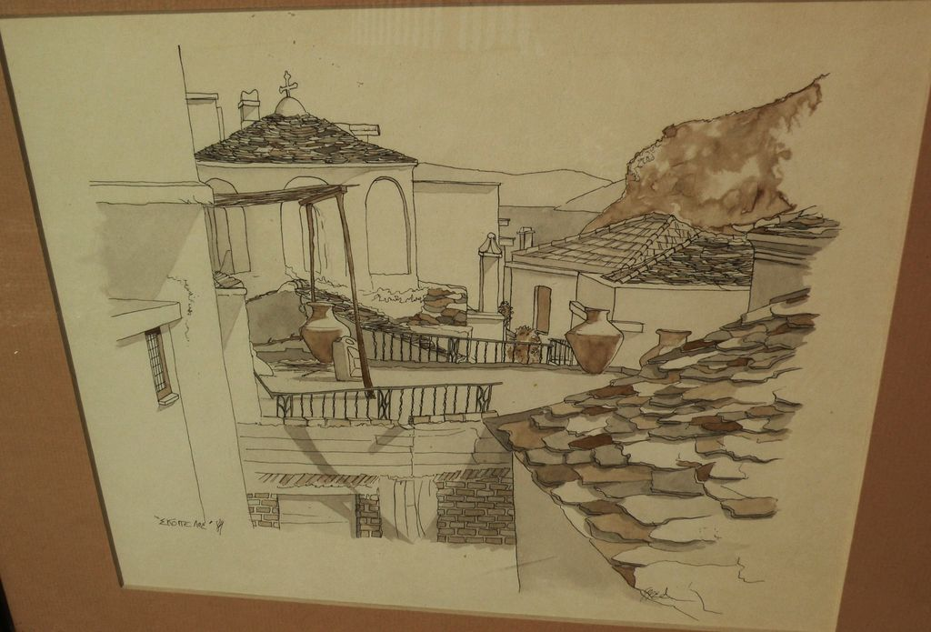 Original ink and watercolor signed drawing of scene in Skopelos, Greece dated 1984