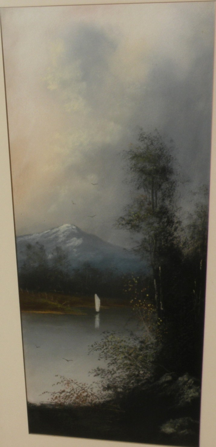 American circa 1900 pastel landscape drawing
