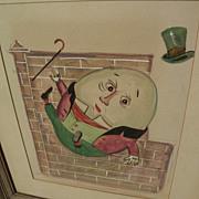 Original gouache drawing of nursery rhyme character Humpty Dumpty