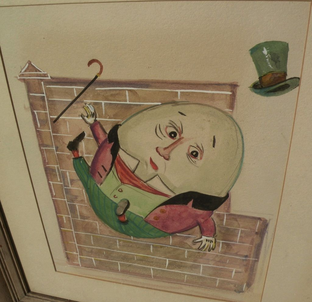 Original gouache drawing of nursery rhyme character Humpty Dumpty