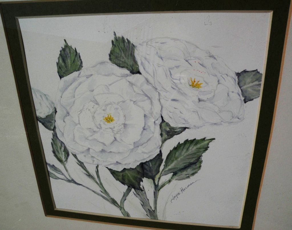 Signed contemporary watercolor still life painting of white flowers