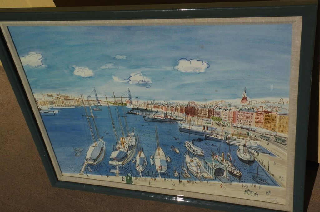 WALLACE HOWARD (1882-1959) large impressive watercolor painting of harbor of Marseilles, France in style of Raoul Dufy