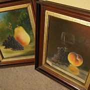 JOHN S. BOWER (mid 19th century American) **PAIR** pastel drawings of fruit