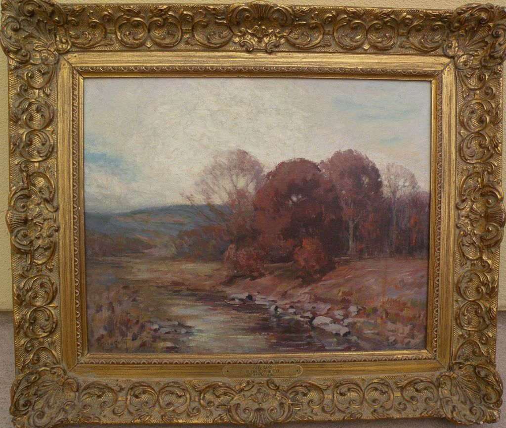 ALFRED HEBER HUTTY (1877-1954) impressionist autumn landscape painting by noted Woodstock and South Carolina artist