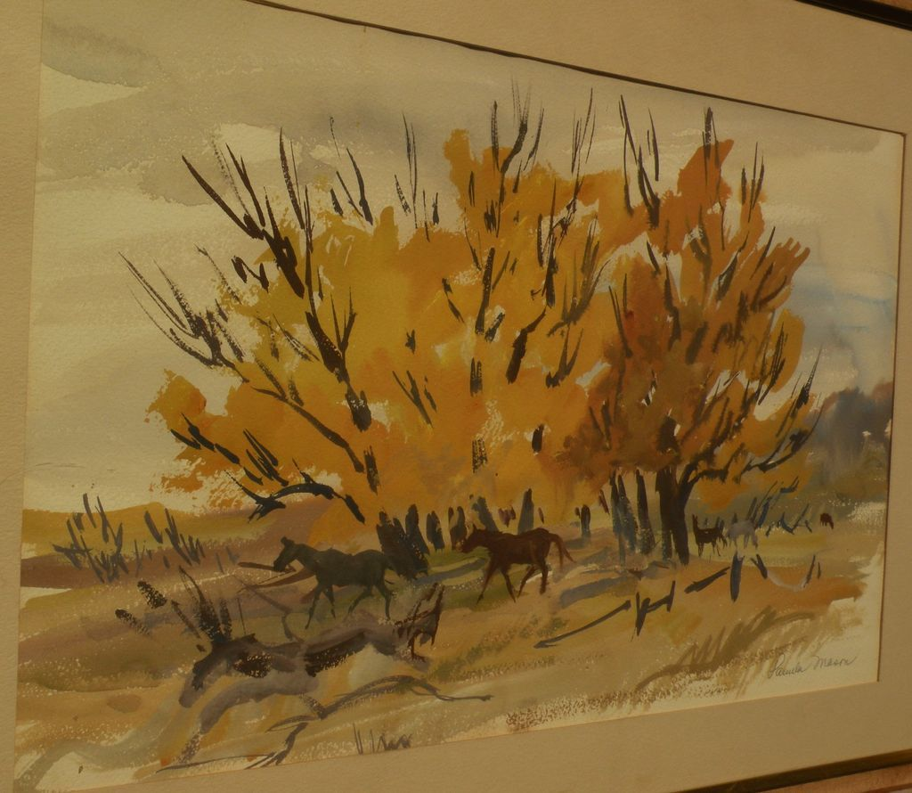 Beautiful impressionist landscape watercolor of horses and autumnal trees signed PAMELA MASON