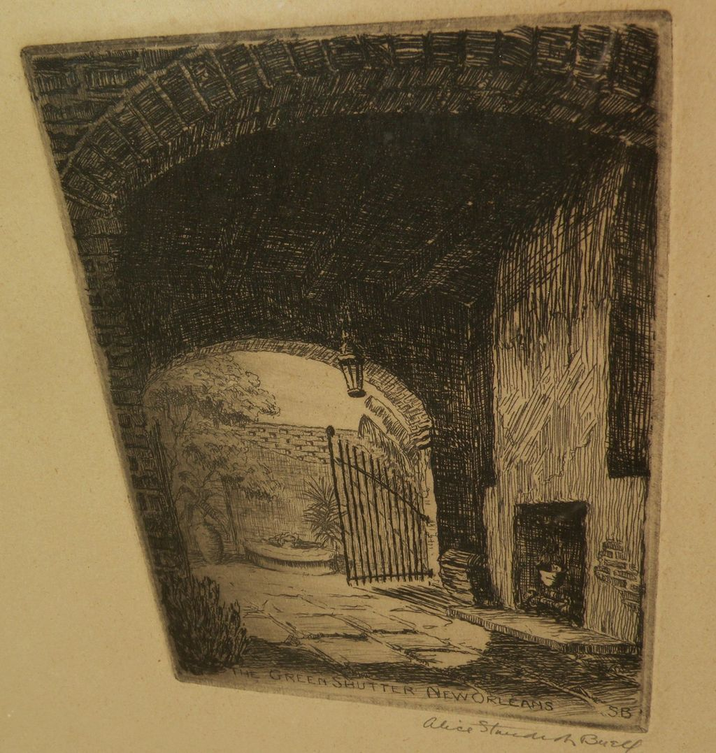 ALICE STANDISH BUELL (1892-1964) pencil signed etching of New Orleans courtyard by noted American printmaker