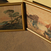 PAIR decorative pictures after antique Italian watercolors