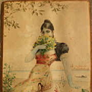 Signed circa 1890 Italian watercolor painting of young woman in Venice