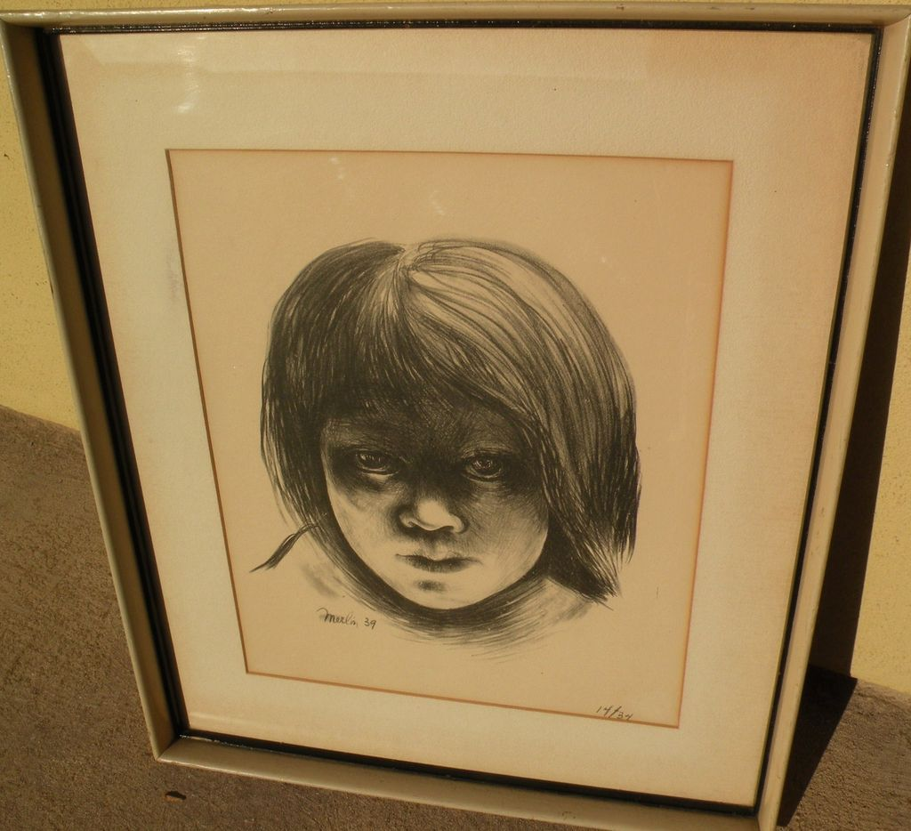 MAURICE MERLIN (1909-1947) original lithograph print of young girl 1939 by listed Midwest and California American Scene artist