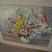 American impressionist watercolor still life painting flowers in a vase