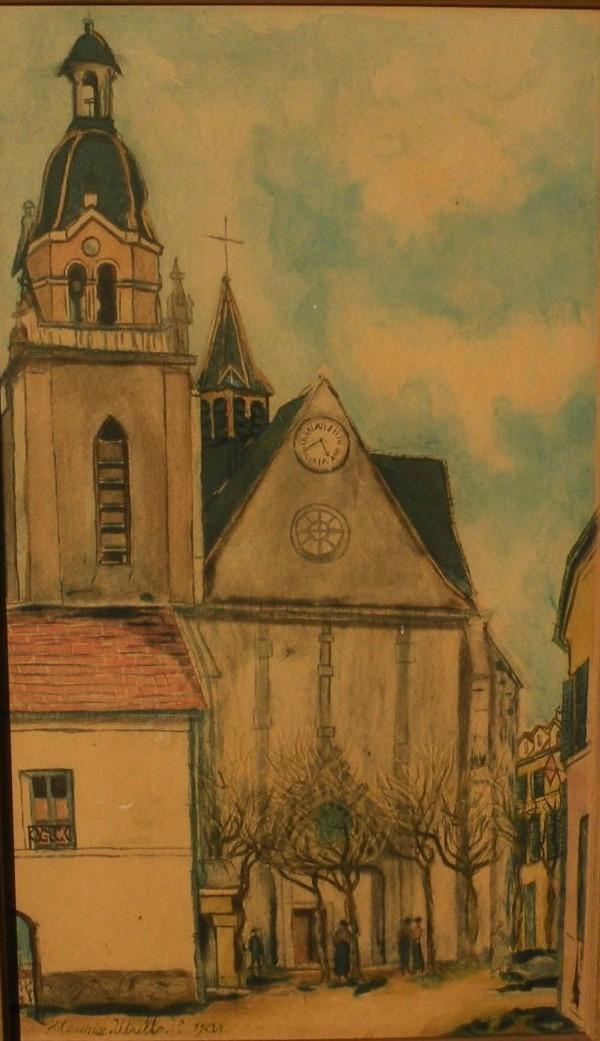 """MAURICE UTRILLO (1883-1955) French art Chalcographie du Louvre aquatint print """"L'Eglise de Limours"""""""