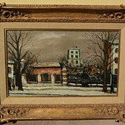 ALPHONSE-LEON QUIZET (1885-1955) French art Paris street in the snow by teacher and friend of Utrillo