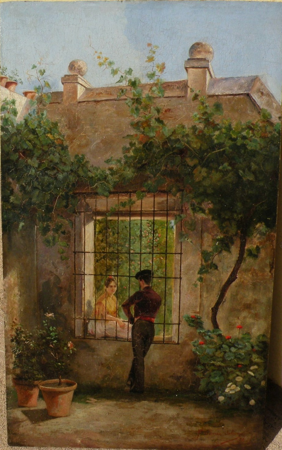 F Gomez Solano 19th Century Spain Antique Oil On Panel