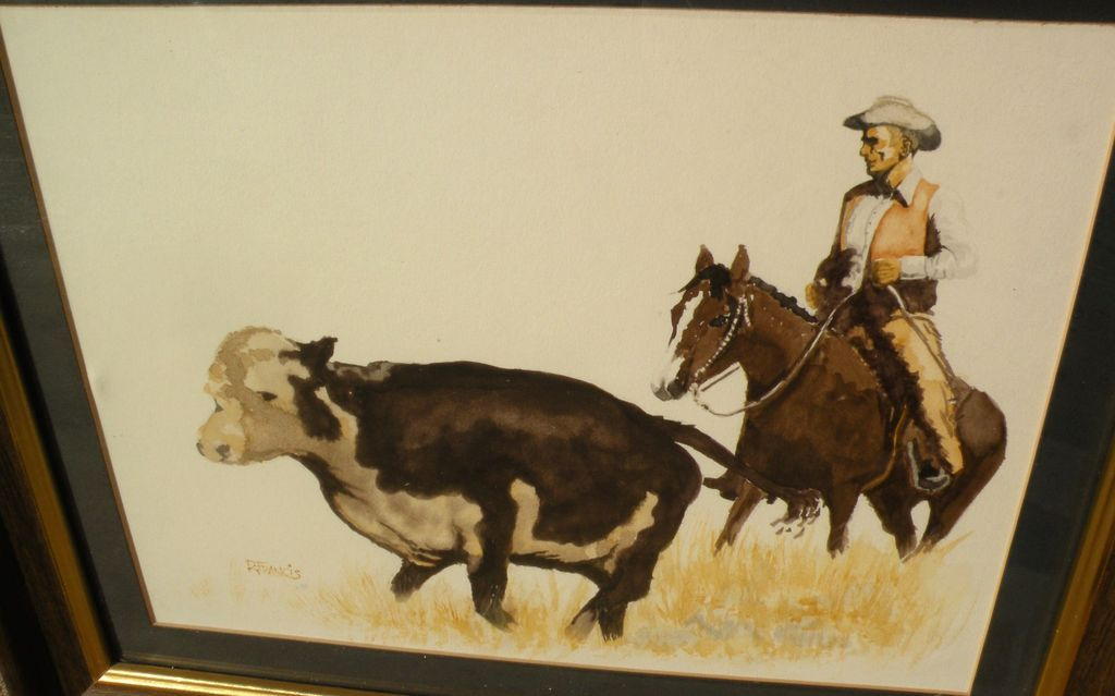 Western American art signed watercolor painting of cowboy, horse and range cattle