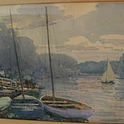 Fine vintage watercolor possibly by English artist Alfred John Billinghurst (1880-1963)