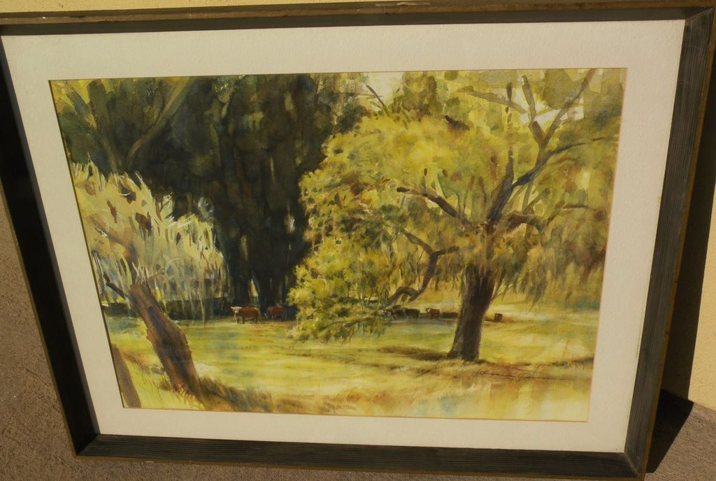"ROSCOE CARVER (1896-1982) watercolor landscape painting ""New Oaks"" by listed California artist"