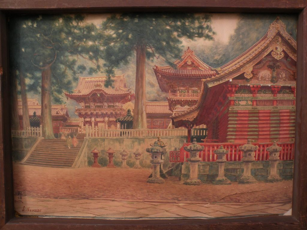 Fine detail large old signed original watercolor painting of Japanese temple possibly Toshogu Shrine at Nikko