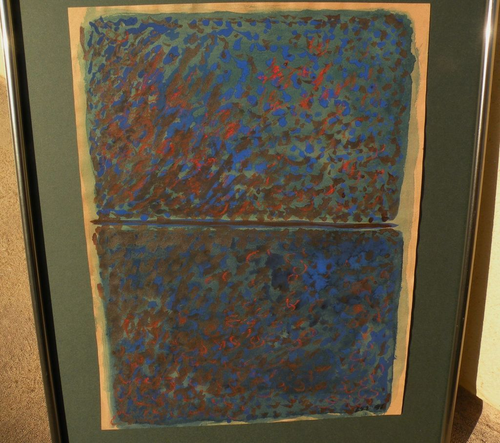 Mid century signed modern abstract mixed media drawing possibly Northwest School