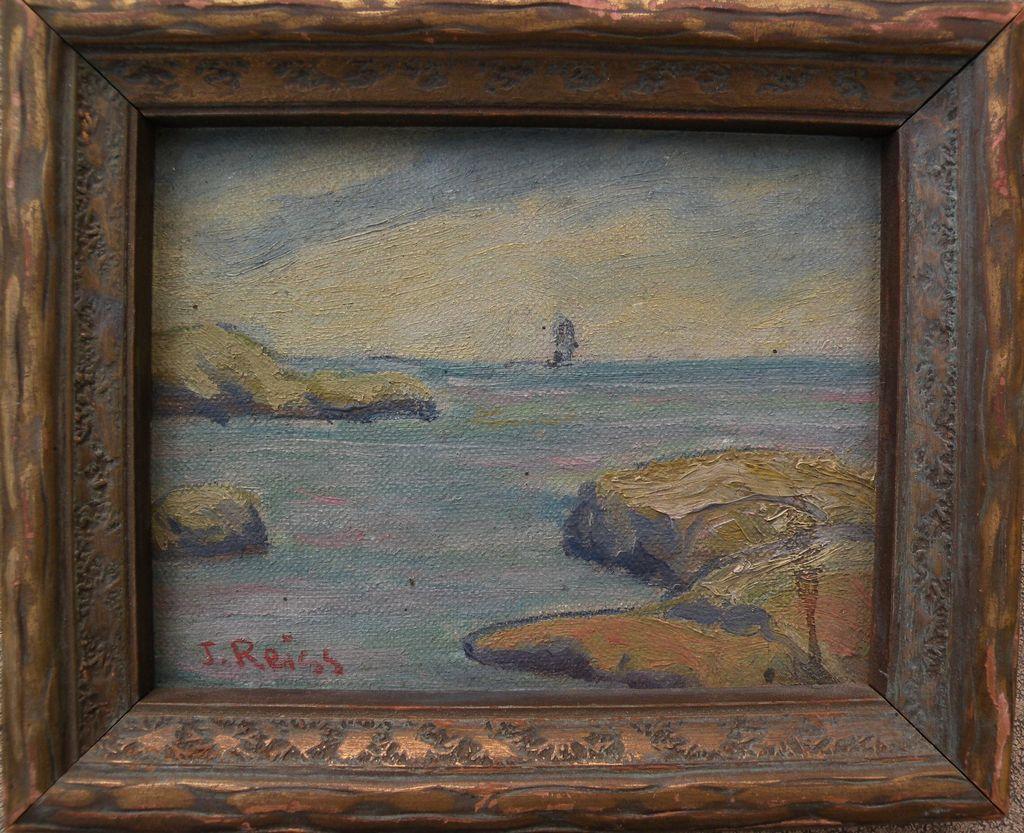 Impressionist signed miniature vintage seascape painting