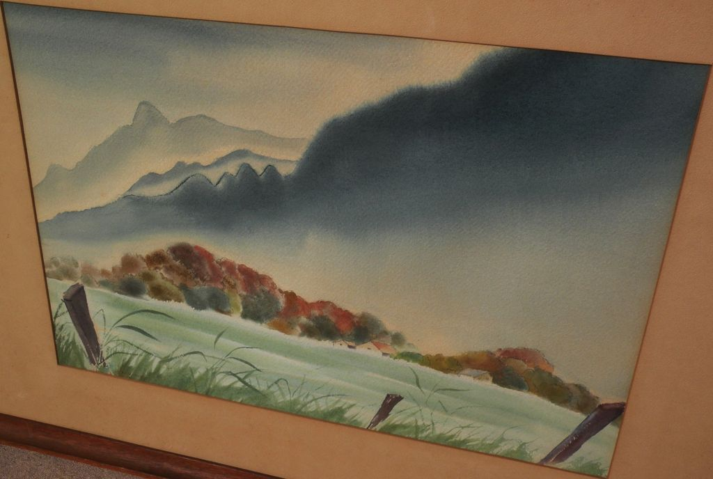 KENNETH K. HIGASHIMACHI (1901-1991) watercolor landscape painting possibly Hawaii by noted Japanese-American artist
