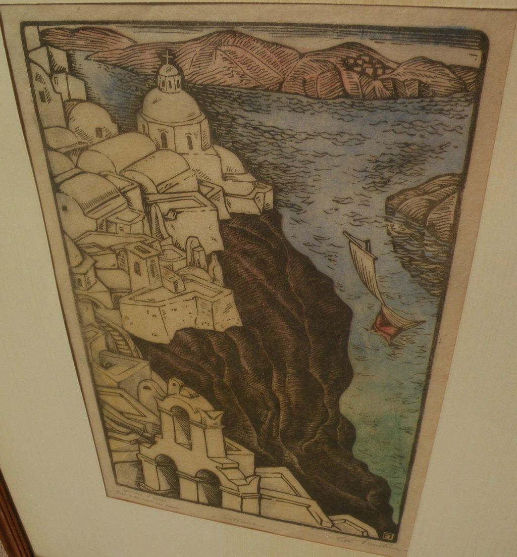 Beautiful vintage woodblock print of Santorini, Greece pencil signed by artist